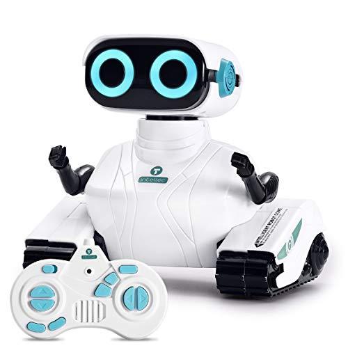 ALLCELE Fernbedienung Roboter Spielzeug für Jungen und Mädchen, RC Elektro Spielzeug mit Fernbedienung Griff, LED-Augen und flexiblen Arme, Ideale Weihnachten Geburtstag Geschenke für Kinder 6+ (Weiß)