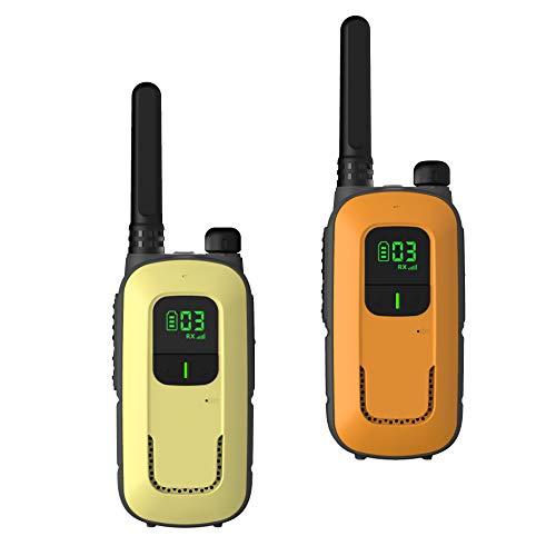 Radioddity PR-T3 Walkie Talkie für Kinder 16 Kanäle PMR446 Funkgerät ab 3 Jahre VOX mit Taschenlampe 4KM Reichweite, 2 Stücke (Orange & Gelb)